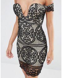 Love Triangle - Black Lace Bardot Dress - Lyst