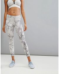 Reebok - Gray Training Lux Bold Marble Print Tight - Lyst