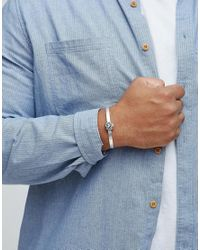 ASOS - Metallic Plus Bangle With Lion Head Design In Burnished Silver for Men - Lyst