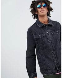 Bershka - Denim Jacket In Black for Men - Lyst
