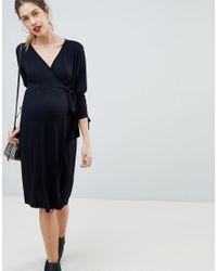 ASOS - Black Nursing Batwing Wrap Dress - Lyst