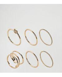 ASOS - Metallic Pack Of 6 Twist & Knot Rings - Lyst