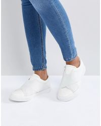 London Rebel - White Elastic Trainer - Lyst