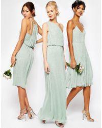 ASOS - Green Wedding Embellished Cami Drape Back Midi Pencil Dress - Lyst