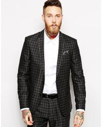 ASOS - Gray Skinny Fit Suit Jacket In Dogstooth for Men - Lyst