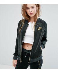 Nike - Exclusive Velour Full Zip Jacket In Outdoor Green - Lyst