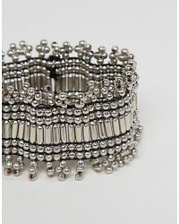ASOS - Metallic Asos Design Curve Exclusive Burnished Bead Stretch Bracelet - Lyst