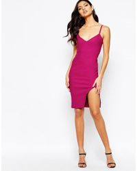 Vesper - Pink Cami Strap Midi Dress With Side Split - Lyst