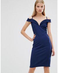 Rage - Blue Madam Cold Shoulder Dress - Lyst