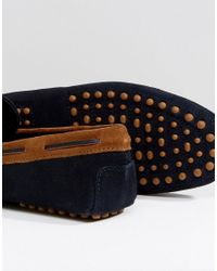 ASOS - Blue Wide Fit Driving Shoes In Navy Suede With Brown Leather Detail for Men - Lyst