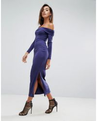 ASOS - Blue Super Soft Deep Bardot Maxi Bodycon Dress - Lyst