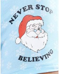 ASOS Blue Christmas Trunks With Never Stop Believing Print & Candy Cane Waistband for men