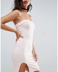 ASOS - Pink Strapless Mini Bodycon Dress With Curved Splits - Lyst