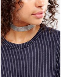 Pieces - Metallic Metal Choker - Lyst