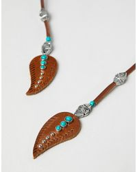 ASOS - Brown Design Leather Wrap Around Bolo Necklace With Feathers for Men - Lyst