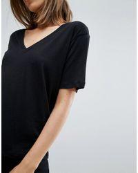 Weekday - Black Last V-neck T-shirt - Lyst