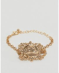 ASOS - Metallic Bracelet With Vintage Style Filigree Icon Square Pendant In Gold - Lyst