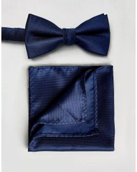 SELECTED - Blue Bow Tie And Pocket Square Set for Men - Lyst