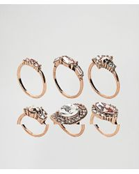 ALDO | Metallic Chydda Rose Gold Gem Multipack Rings | Lyst