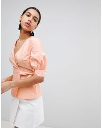 Fashion Union - Orange Wrap Front Top With Balloon Sleeves - Lyst