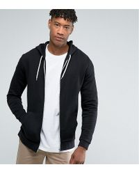 ASOS - Tall Zip Up Hoodie In Black for Men - Lyst