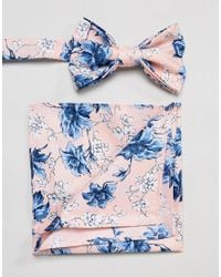 ASOS - Wedding Bow Tie & Pocket Square In Pink Floral Print for Men - Lyst