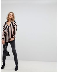 Stradivarius - Multicolor Bold Stripe V Neck Blouse - Lyst