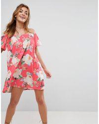 2fe1df4a6d7 Lyst - ASOS Off Shoulder Sundress In Floral Print in Pink
