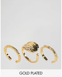 Pieces - Metallic Hammered Gold Plated Ring Trio - Lyst