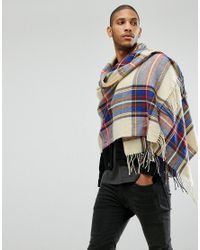 ASOS DESIGN - Multicolor Blanket Scarf In Cream Tartan for Men - Lyst