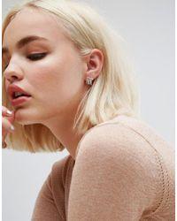 ASOS - Metallic Sterling Silver Bar & Fine Chain Earrings - Lyst
