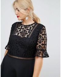 ASOS - Black Premium Lace Insert Midi Dress - Lyst