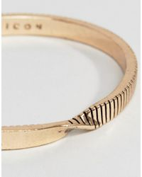 Icon Brand - Metallic Twisted Cuff Bangle Bracelet In Antique Gold - Lyst