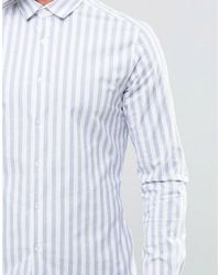 ASOS - Slim Stripe Shirt With Stretch In Blue for Men - Lyst