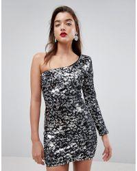 ASOS - Metallic One Shoulder Animal Sequin Mini Dress - Lyst