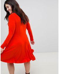 ASOS - Red Midi Skater Dress With Asymmetric Hem - Lyst