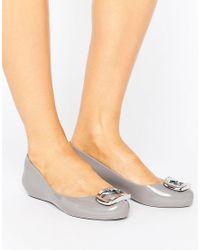 Zaxy - Gray Pop Charm Ballerina Pumps - Lyst
