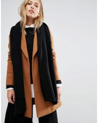 Pieces - Black Ribbed Oversized Blanket Scarf - Lyst
