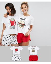 ASOS - Multicolor 2 Pack Best Mates Burger & Fries Tee & Short Pyjama Sets - Lyst