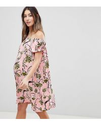 fb2e3bf032580 Women's Pink Asos Design Maternity Off Shoulder Mini Dress With Puff  Sleeves In Floral Print