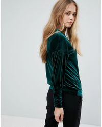 Warehouse - Green Velour Balloon Sleeve Jumper - Lyst