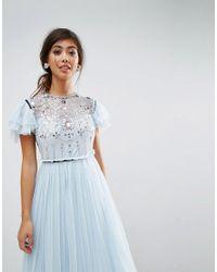 ASOS - Blue Embellished Frill Mini Tulle Dress - Lyst