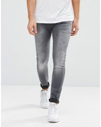 e18e9159f03e4 Lyst - G-Star Raw Jeans Defend Super Slim Skinny Fit Slander Grey ...