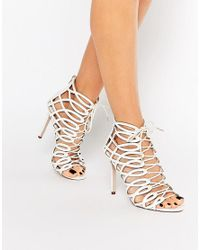 Faith   Multicolor Louise White Caged Ghillie Tie Up Heeled Shoe Boots   Lyst