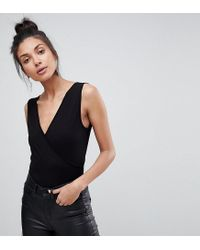 ASOS - Black Top With Wrap Front And Back - Lyst