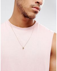 ASOS - Metallic Design Necklace With Ditsy Cross In Gold for Men - Lyst