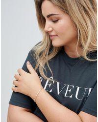 ASOS - Metallic Asos Design Curve Sterling Silver Etched Cuff Bracelet - Lyst