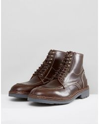 H by Hudson - Brown Wycombe Leather Lace Up Boots for Men - Lyst