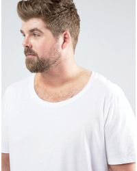 ASOS - Plus Longline T-shirt With Scoop Neck In White for Men - Lyst