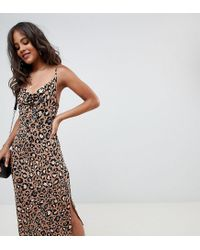 4e93801449e9 ASOS Asos Design Tall Cowl Front Midi Slip Dress In Leopard Print - Lyst
